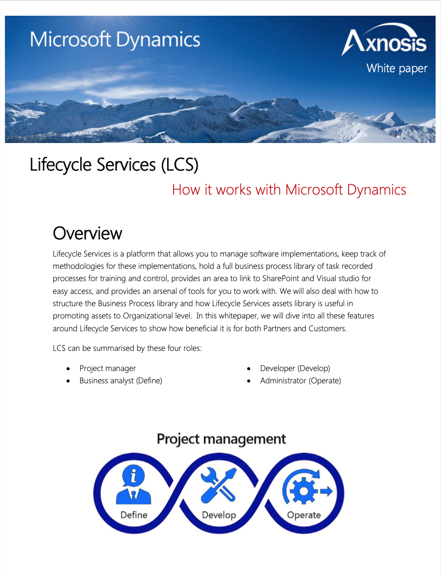 Dynamics Lifecycle Services White Paper